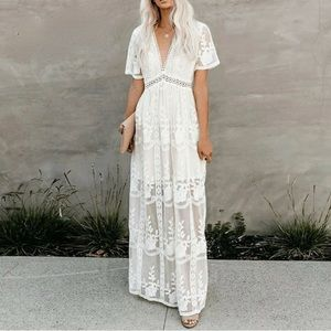 Vici White Lace Boho Maxi Dress, S